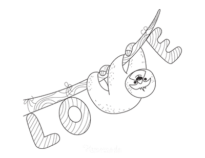 Valentines Day Coloring Pages Love Sloth