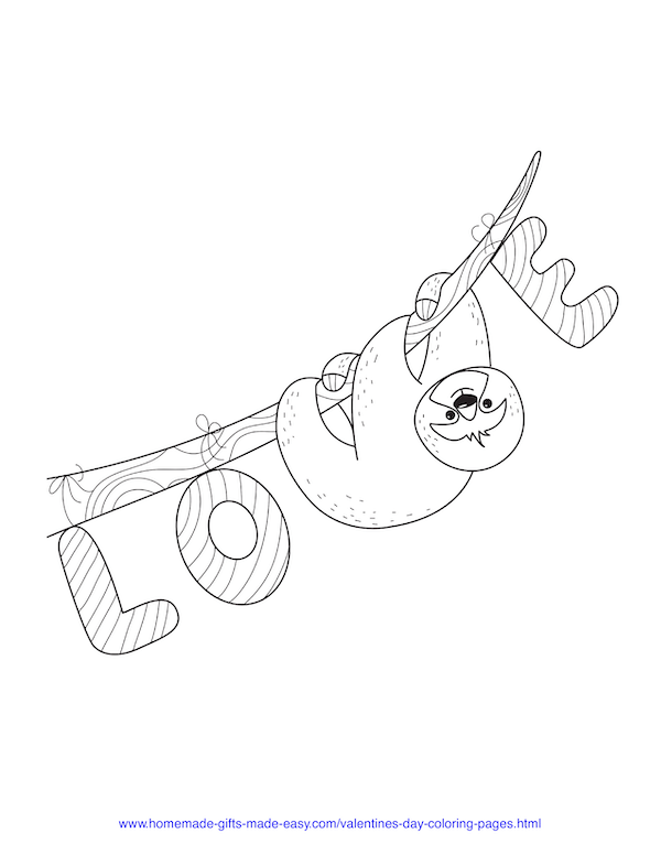 valentines day coloring pages - love sloth on a branch