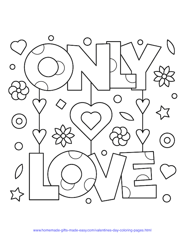 valentines day coloring pages - only love sign