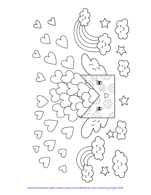 valentines day coloring pages - sending lots of love hearts and rainbows