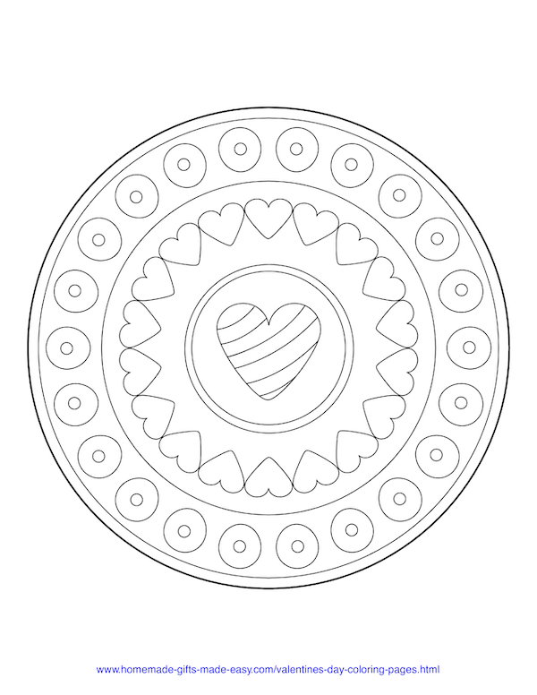 valentines day coloring pages - simple heart mandala