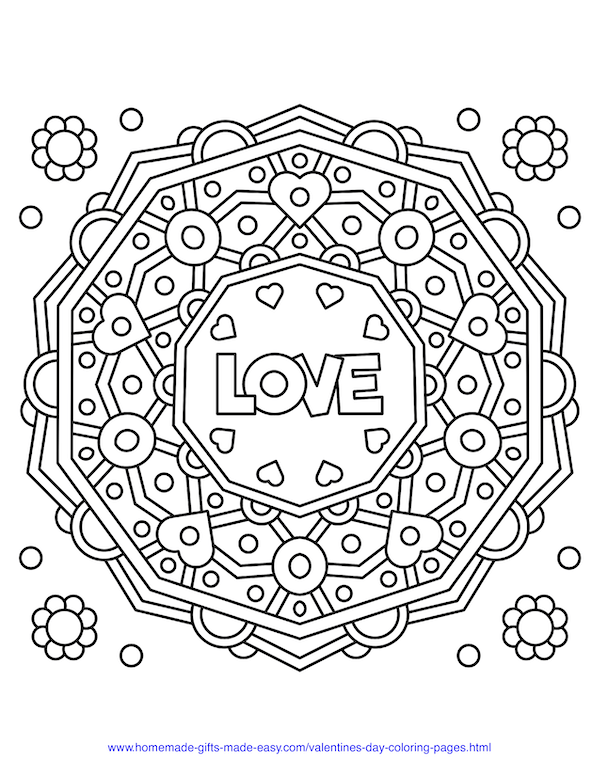 valentines day coloring pages - simple love mandala