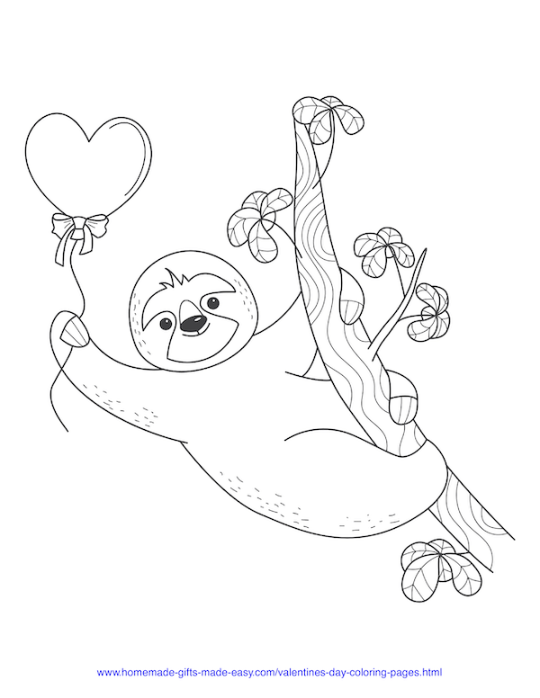 valentines day coloring pages - sloth with heart balloon