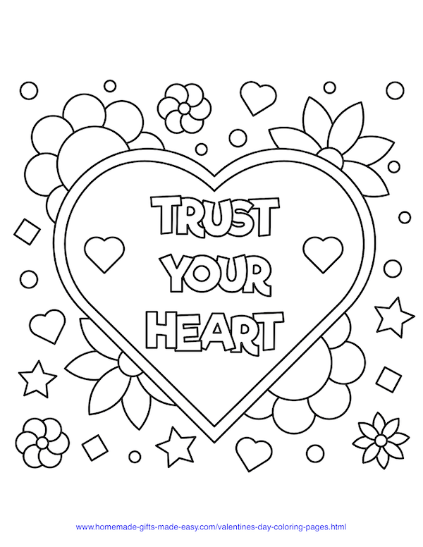 valentines day coloring pages - trust your heart sign