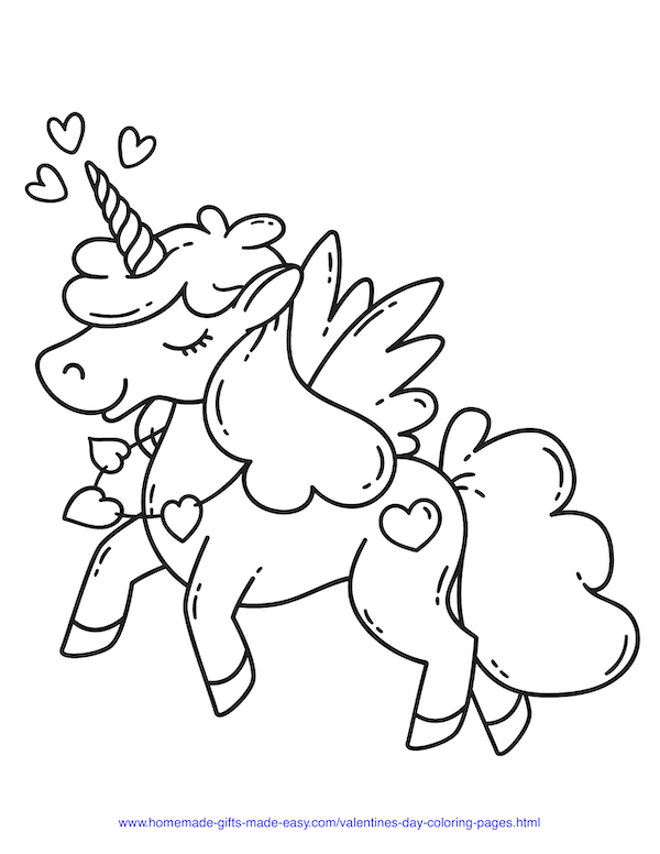 valentines day coloring pages - unicorn with hearts