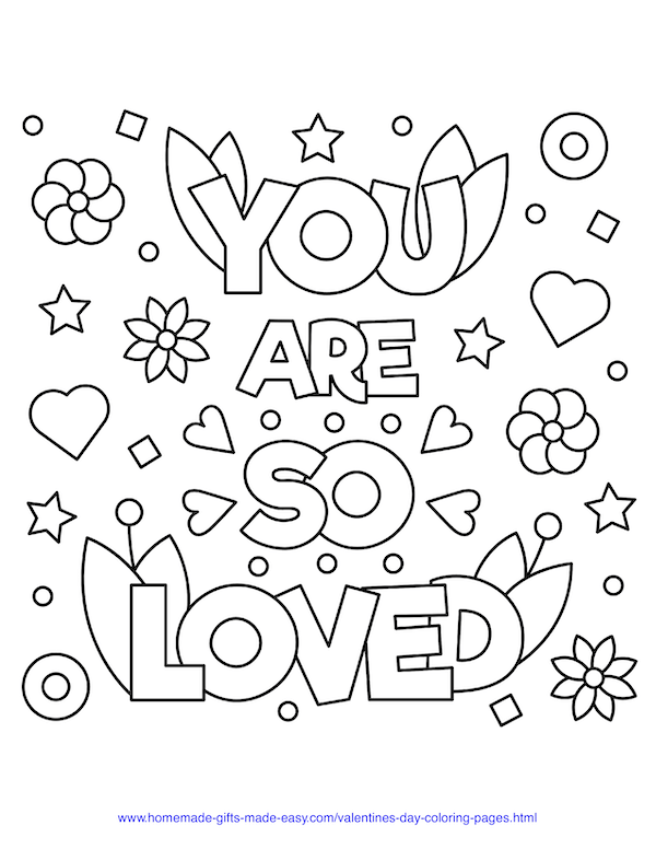 valentines day coloring pages - you are so loved sign