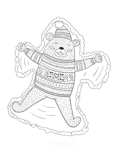 Winter Coloring Pages Bear Snow Angel