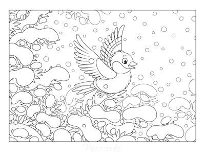 Winter Coloring Pages Bird in Snowy Tree
