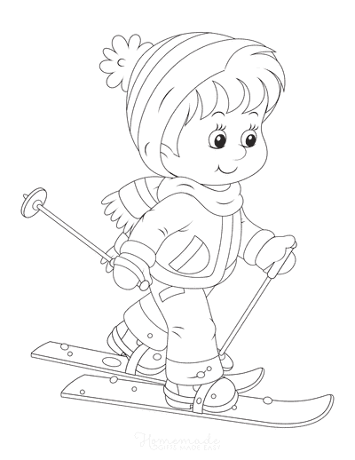 Winter Coloring Pages Boy Skiing