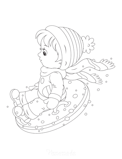 Winter Coloring Pages Boy Snow Tube Sled