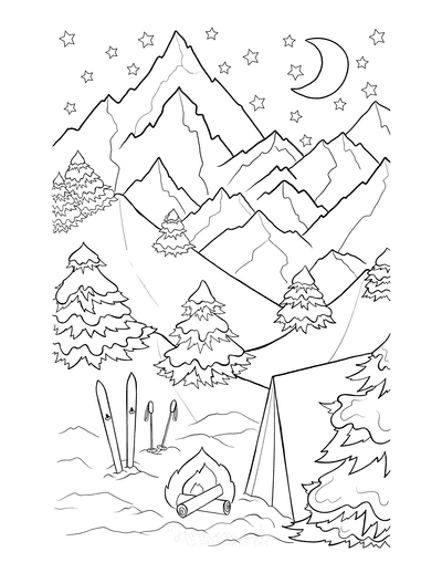 Winter Coloring Pages Camping Skiing Wintertime Scene