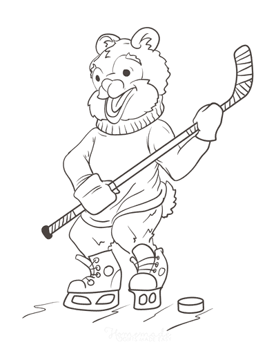 Winter Coloring Pages Cartoon Bear Ice Hockey