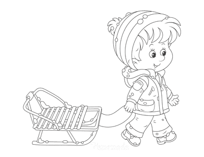 Winter Coloring Pages Child Pulling Toboggan