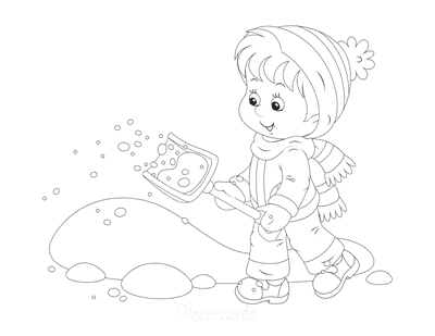 Winter Coloring Pages Child Shovelling Snow