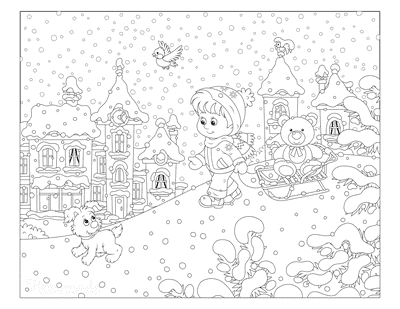 Winter Coloring Pages Child Toboggan Sled Teddy Puppy Snowing