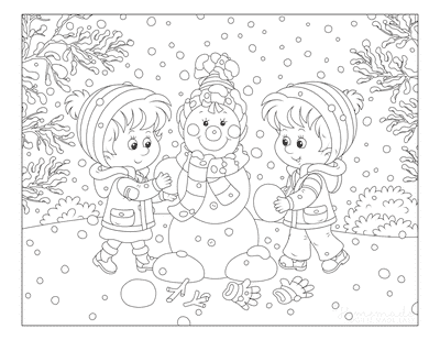 Winter Coloring Pages Children Building Snowman Snowing