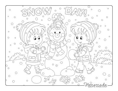Winter Coloring Pages Children Building Snowman Snowing