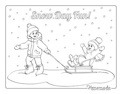 Winter Coloring Pages Children Playing Tobogganing