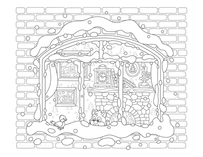 Winter Coloring Pages Cosy Winter Fireside Scene