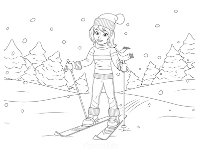 Winter Coloring Pages Cross Country Skiing Scene