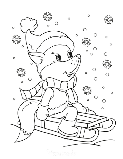 Winter Coloring Pages Cute Fox Tobogganing Snowflakes