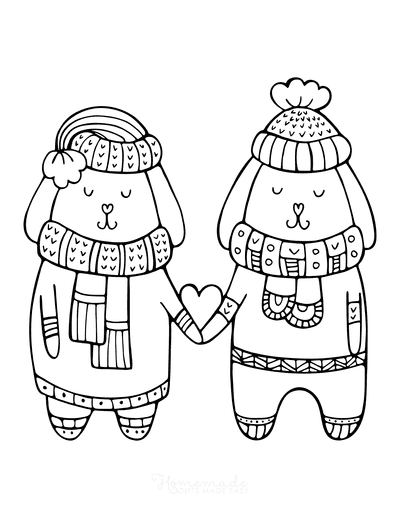 Winter Coloring Pages Cute Love Puppies Winter Clothes