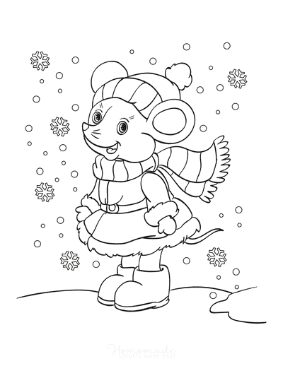 Winter Coloring Pages Cute Mouse Snowflakes