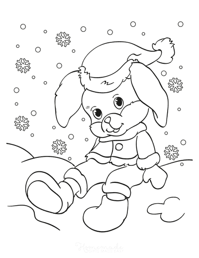 Winter Coloring Pages Cute Rabbit Sitting in Snow