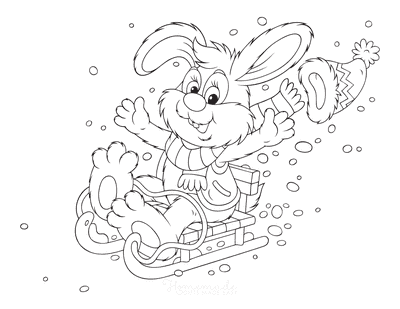 Winter Coloring Pages Cute Rabbit Sledding