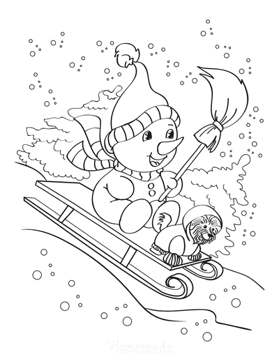 Winter Coloring Pages Cute Snowman Puppy Sled Ride