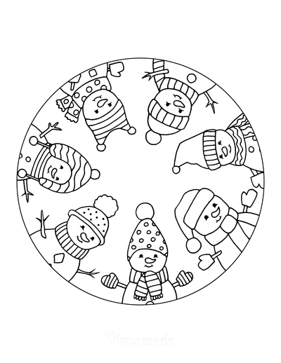 Winter Coloring Pages Cute Snowmen