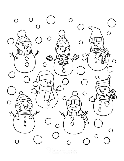 Winter Coloring Pages Cute Snowmen to Color