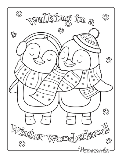Winter Coloring Pages Cute Winter Penguins in Love