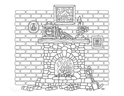 Winter Coloring Pages Fireplace Hearth