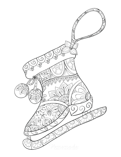 Winter Coloring Pages for Adults Decorate Ice Skate