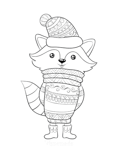 Winter Coloring Pages Fox Warm Clothes