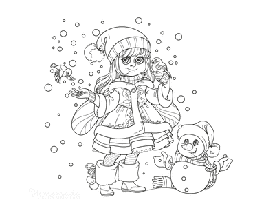 Winter Coloring Pages Girl Winter Coat Feeding Birds Snowman