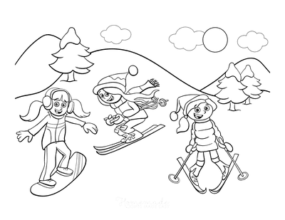 Winter Coloring Pages Girls Skiing Snowboarding