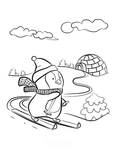 Winter Coloring Pages Penguin Skiing