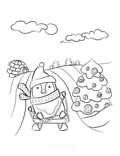 Winter Coloring Pages Penguin Sledding