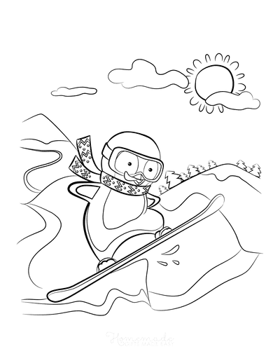 Winter Coloring Pages Penguin Snowboarding