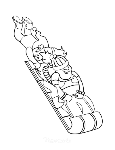 Winter Coloring Pages Simple Sleigh Ride