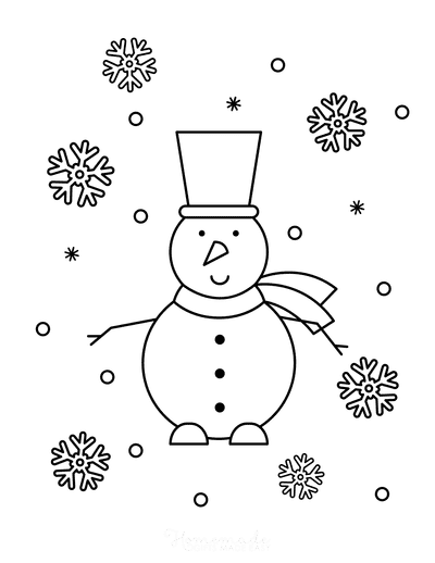 Winter Coloring Pages Simple Snowman Snowflakes