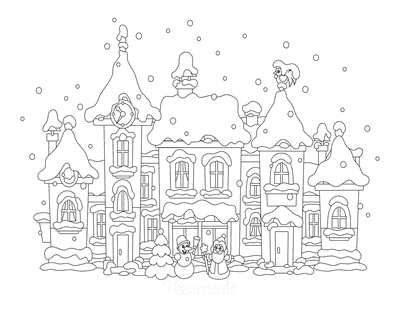 Winter Coloring Pages Snow Covered Village Scene