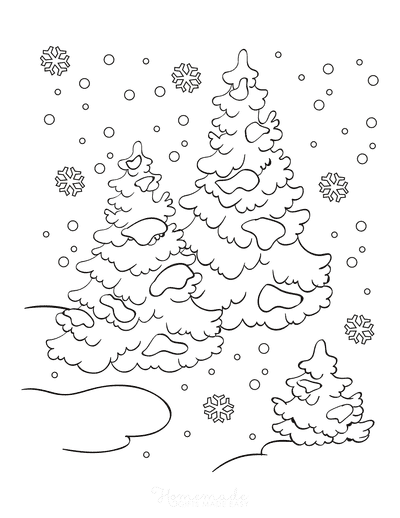 Winter Coloring Pages Snow Falling Trees