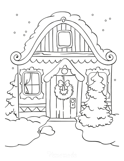 Winter Coloring Pages Snow on House Roof