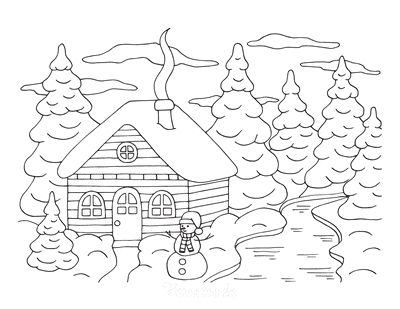 Winter Coloring Pages Snowy Cabin in Woods With Snowman