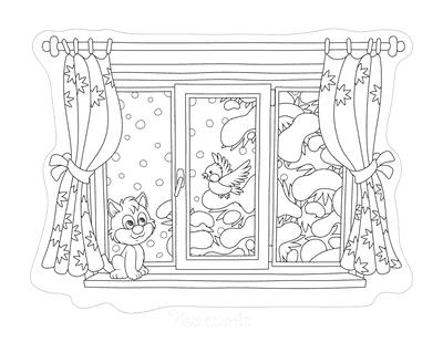 Winter Coloring Pages Window View Snow Robin Cat Tree