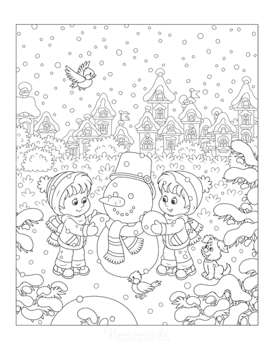 Winter Coloring Pages Wintertime Scene Children Building Snowman