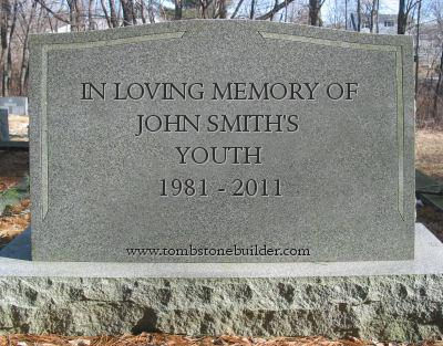 30th birthday gag gift in memory of youth tombstone